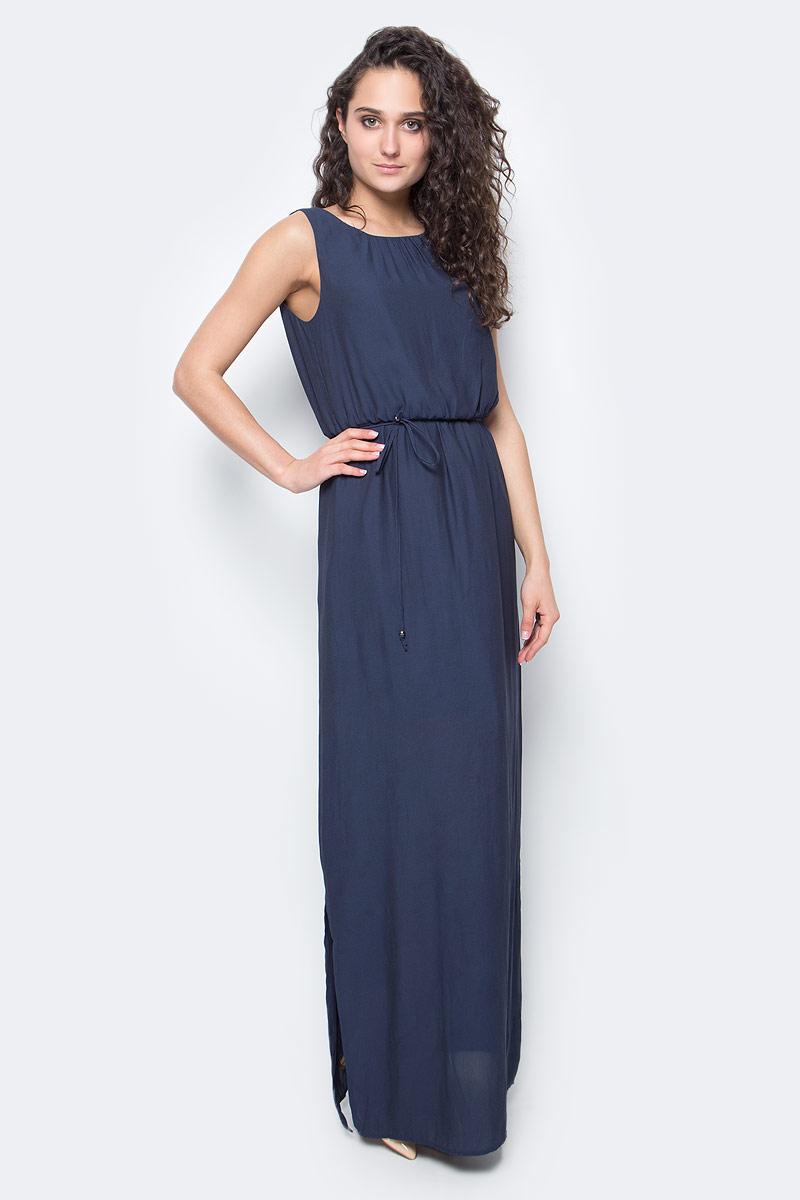 Платье Only, цвет: синий. 15136137_Night Sky. Размер 40 (46)15136137_Night SkyПлатье женское Only из легкого трикотажа послужит идеальным дополнением к вашему гардеробу. Изделие застегивается на пуговицу и дополнено поясом.