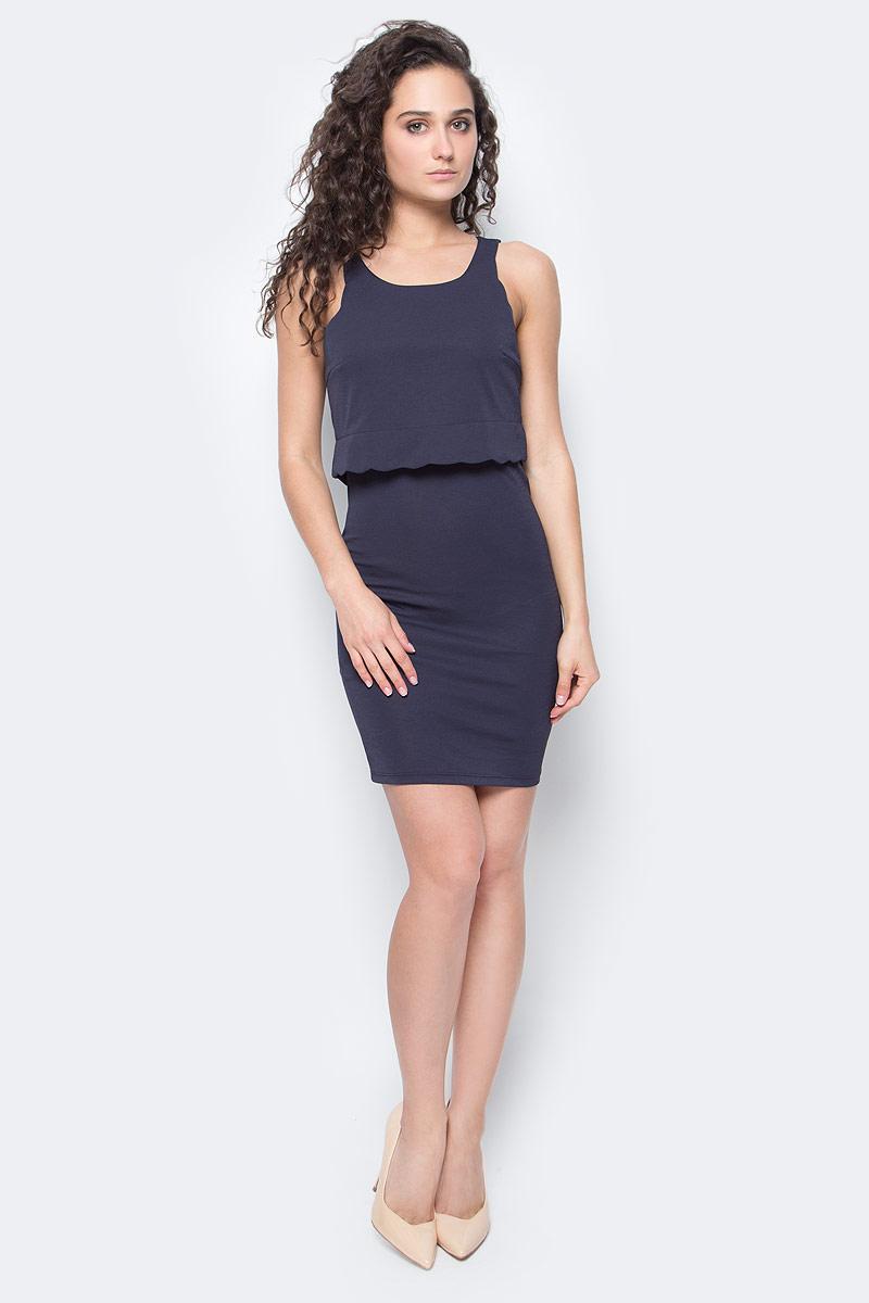 Платье Only, цвет: темно-синий. 15136551_Night Sky. Размер XS (40/42)15136551_Night SkyСтильное платье Only подчеркнет ваш стиль и поможет создать оригинальный женственный образ. Модель без рукавов имеет приталенный силуэт, длину мини и круглый вырез горловины.