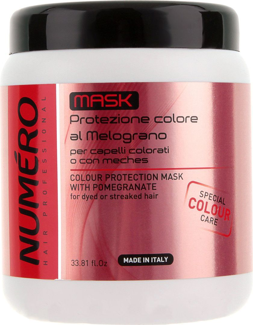 Brelil Numero Colour Маска для защиты цвета с экстрактом граната для окрашенных и мелированных волос 1000 млB080098Для окрашенных и мелированных волос. Маска способствует легкому расчесыванию волос, не утяжеляет их, защищает от внешних негативных факторов, интенсивно питает волосы и поддерживает цвет на длительный срок.