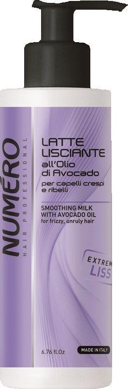 Brelil Numero Liss Молочко разглаживающее с маслом авокадо для пушистых и непослушных волос 200 мл brelil numero curl маска с оливковым маслом для вьющихся и волнистых волос 1000 мл