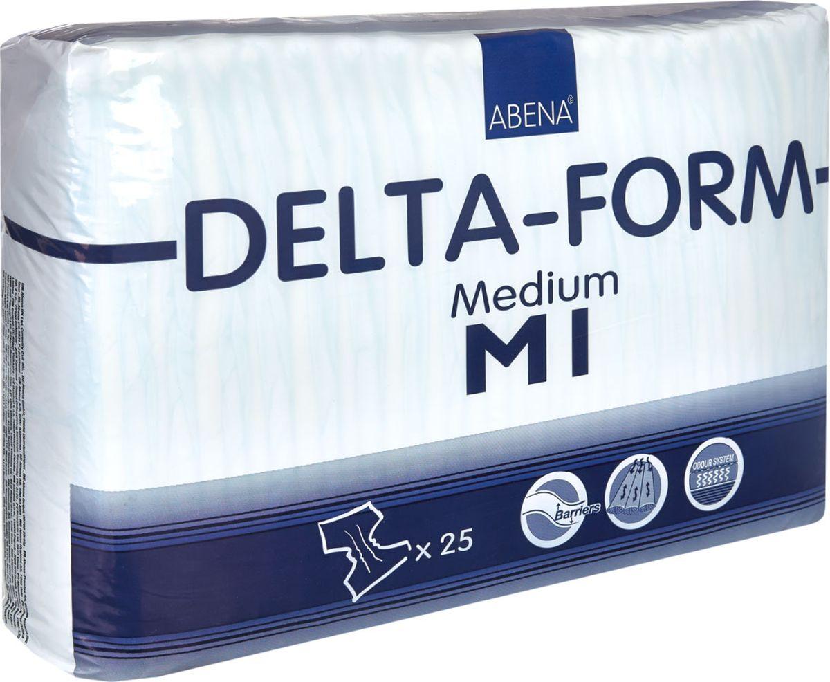 Abena Подгузники для взрослых Delta-Form M1 25 шт3359Подгузники для взрослых Abena Delta-Form созданы для ухода за пациентами, имеющими недержание мочи. Они имеют анатомическую форму, которая обеспечивает оптимальный комфорт и активность пациента. Внутренняя поверхность изготавливается из особого материала, который обеспечивает сухость, защиту кожи и проникновение влаги только в одну сторону.Благодаря наличию распределительного слоя TOP DRY влага впитывается очень быстро и минимально контактирует с кожей. Впитываемость 1700 мл.Размер 70-110 см.