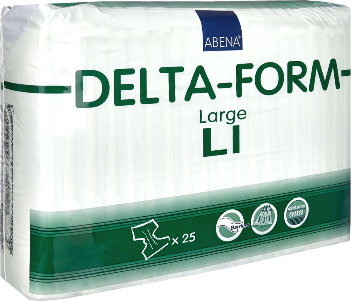 Abena Подгузники для взрослых Delta-Form L1 25 шт106Подгузники для взрослых Abena Delta-Form созданы для ухода за пациентами, имеющими недержание мочи. Они имеют анатомическую форму, которая обеспечивает оптимальный комфорт и активность пациента. Внутренняя поверхность изготавливается из особого материала, который обеспечивает сухость, защиту кожи и проникновение влаги только в одну сторону.Благодаря наличию распределительного слоя TOP DRY влага впитывается очень быстро и минимально контактирует с кожей. Впитываемость 2200 г.Размер 100-150 см.