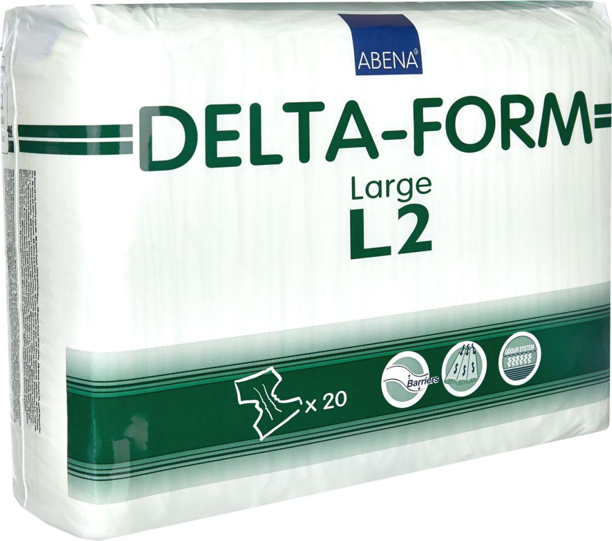 Abena Подгузники для взрослых Delta-Form L2 20 шт308863Подгузники для взрослых Abena Delta-Form созданы для ухода за пациентами, имеющими недержание мочи. Они имеют анатомическую форму, которая обеспечивает оптимальный комфорт и активность пациента. Внутренняя поверхность изготавливается из особого материала, который обеспечивает сухость, защиту кожи и проникновение влаги только в одну сторону. Благодаря наличию распределительного слоя TOP DRY влага впитывается очень быстро и минимально контактирует с кожей.Впитываемость 2700 г. Размер 100-150 см.