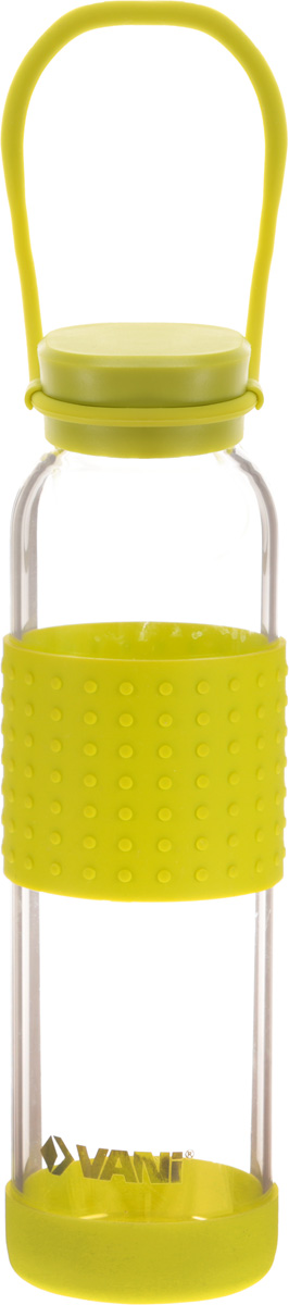 Бутылка для воды VANI, цвет: прозрачный, зеленый, 500 млGE01-3944/402Бутылка для воды VANI пригодится в спортзале, на прогулке, дома и на даче. Бутылка выполнена из высококачественного упрочненного стекла, она способна выдержать температуру от -20 до 100°С. Имеет силиконовую ручку для переноски. Силиконовые вставки на стекле предохраняют от ожогов и скольжения в руках.Крышка изготовлена из пищевого пластика, нержавеющей стали и силиконового кольца. Герметично закрывается. Диаметр горлышка: 4 см.Высота бутылки (с учетом крышки): 23 см.Диаметр дна: 6,5 см.