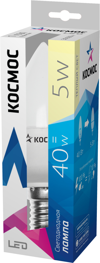 Светодиодная лампа Kosmos, теплый свет, цоколь E14, 5W, 220V, (40W)Lksm_LED5wCNE1430Светодиодная энергосберегающая лампа КОСМОС LED CN 5Вт 220В E14 3000K (Lksm LED5wCNE1430) отличается повышенной экономичностью. Практически не выделяет тепло, так как в конструкции предусмотрен керамический теплоотвод. Рекомендуется для установки в торшеры, БРА, светильники. Рабочий ресурс составляет 30 000 часов. Излучает теплый свет и заменяет лампу накаливания в 60W.Уважаемые клиенты!Обращаем ваше внимание на возможные изменения в дизайне упаковки. Качественные характеристики товара остаются неизменными. Поставка осуществляется в зависимости от наличия на складе.