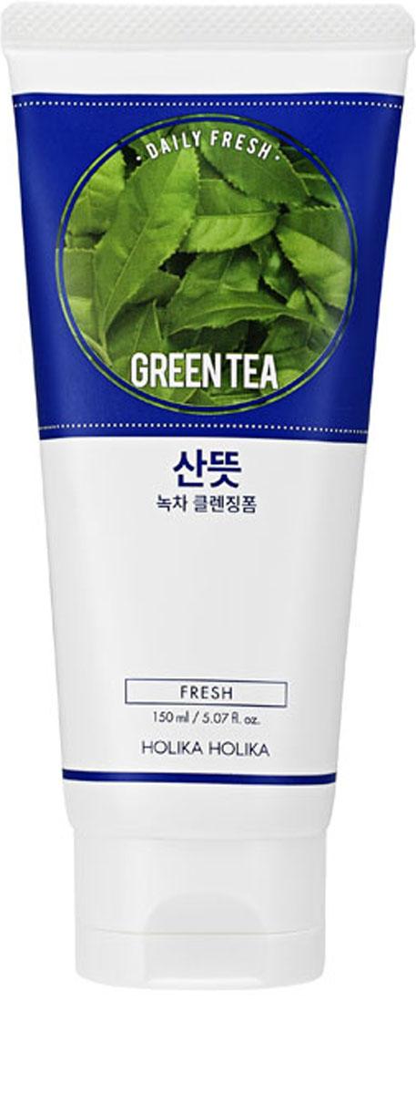 Holika Holika Очищающая пенка для лица Дэйли Фреш, зеленый чай, для проблемной кожи, 150 мл,