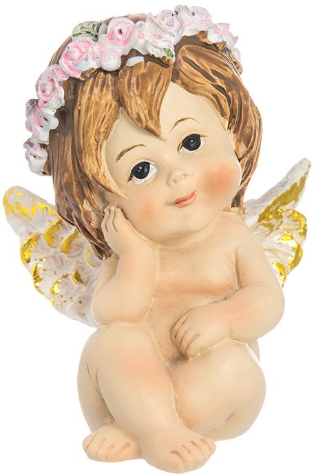 Фигурка декоративная Elan Gallery Ангелочек в венке, высота 7,5 см фигурка декоративная elan gallery ангелочек с золотой овечкой высота 7 5 см
