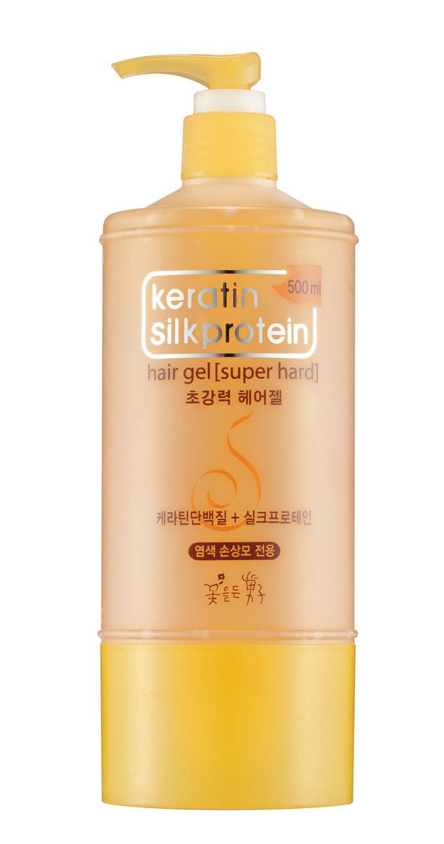 Flor de Man Гель для укладки волос с протеинами шелка МФ Кератин, суперфиксация, 500 мл