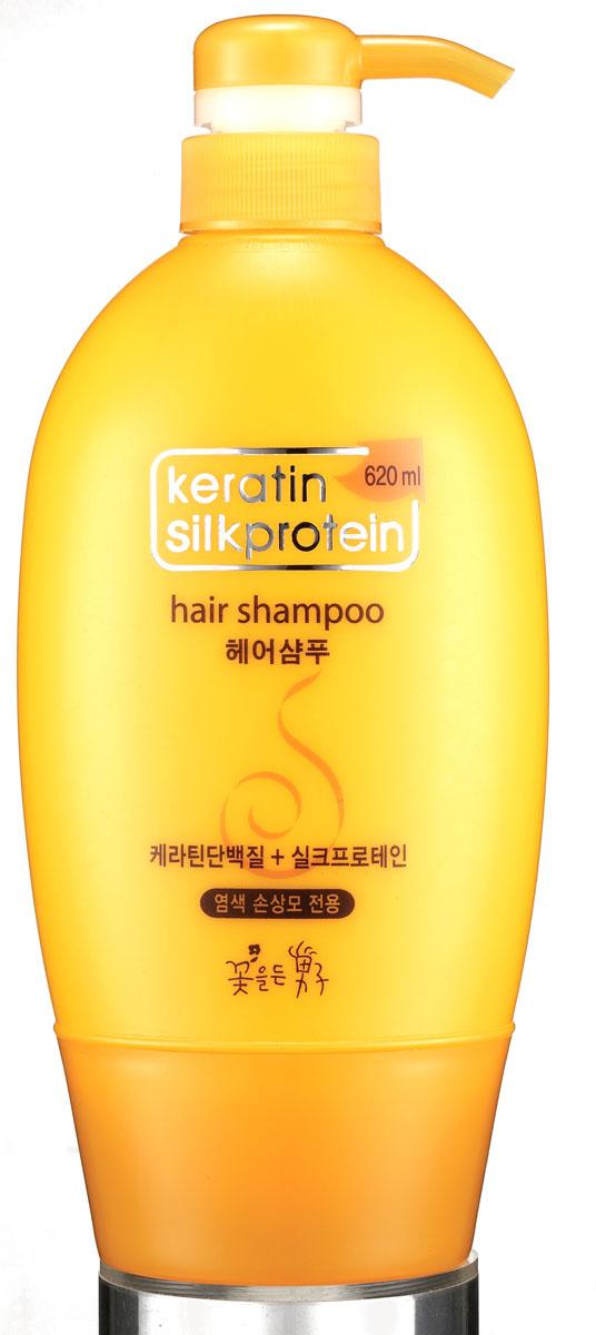 Flor de Man Увлажняющий шампунь для волос с протеинами шелка МФ Кератин, 620 мл маска для волос flor de man flor de man fl019lwuem41