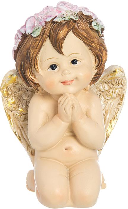 Фигурка декоративная Elan Gallery Задумчивый ангелочек в венке, высота 8,5 см фигурки elan gallery фигурка лягушка модница