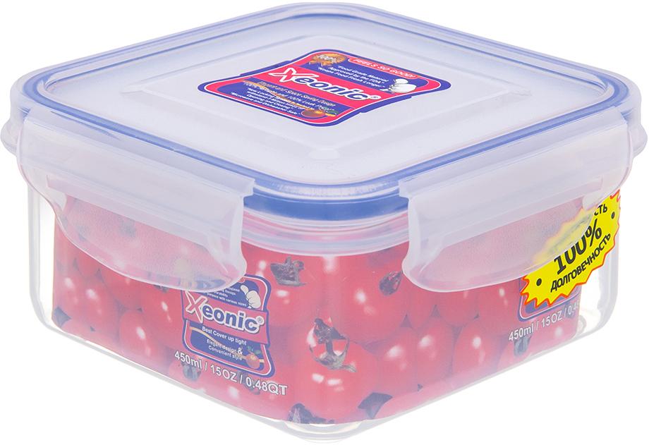 Контейнер Xeonic, цвет: прозрачный, синий, 450 мл. 810003810003Пластиковые герметичные контейнеры для хранения продуктов Xeonic произведены из высококачественных материалов, имеют 100% герметичность, термоустойчивы, могут быть использованы в микроволновой печи и в морозильной камере, устойчивы к воздействию масел и жиров, не впитывают запах. Удобны в использовании, долговечны, легко открываются и закрываются, не занимают много места, можно мыть в посудомоечной машине. Размер - 10 см х 10 см х 5,5 см.