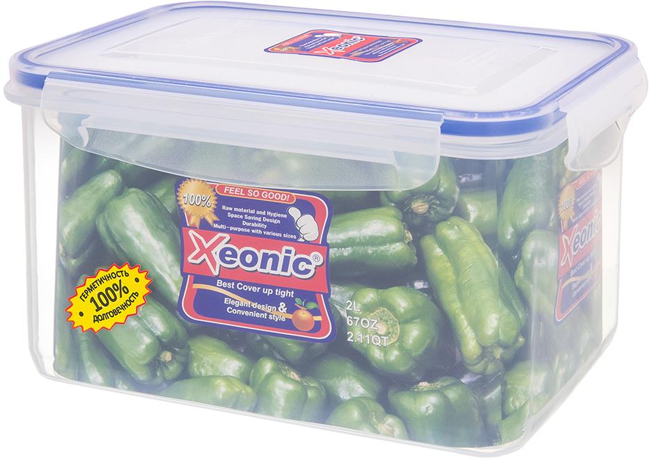 Контейнер Xeonic, цвет: прозрачный, синий, 2 л. 810019810019Пластиковые герметичные контейнеры для хранения продуктов Xeonic произведены из высококачественных материалов, имеют 100% герметичность, термоустойчивы, могут быть использованы в микроволновой печи и в морозильной камере, устойчивы к воздействию масел и жиров, не впитывают запах. Удобны в использовании, долговечны, легко открываются и закрываются, не занимают много места, можно мыть в посудомоечной машине. Размер: 18 см х 12 см х 11 см.