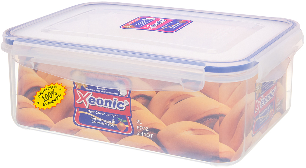 Контейнер Xeonic, цвет: прозрачный, синий, 2 л. 810026810026Пластиковые герметичные контейнеры для хранения продуктов Xeonic произведены из высококачественных материалов, имеют 100% герметичность, термоустойчивы, могут быть использованы в микроволновой печи и в морозильной камере, устойчивы к воздействию масел и жиров, не впитывают запах. Удобны в использовании, долговечны, легко открываются и закрываются, не занимают много места, можно мыть в посудомоечной машине. Размер: 21 см х 15,5 см х 8 см.