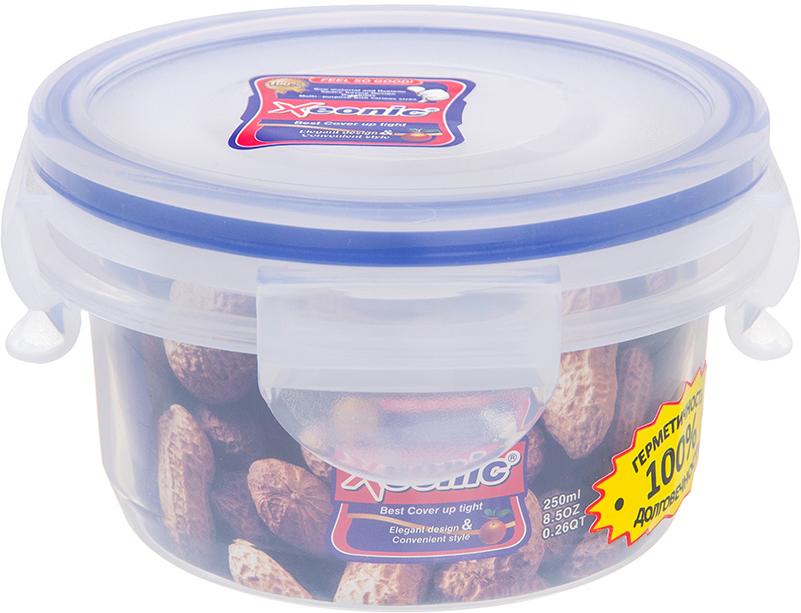 Контейнер пищевой Xeonic, 250 мл810031Герметичный контейнер для хранения продуктов Xeonic произведен из высококачественного полипропилена. Изделие термоустойчиво, может быть использовано в микроволновой печи и в морозильной камере, устойчиво к воздействию масел и жиров, не впитывают запах. Контейнер удобен в использовании, долговечен, легко открывается и закрывается. Герметичность обеспечивается четырьмя защелками и силиконовой прослойкой на крышке. Контейнер компактен и не займет много места.Можно мыть в посудомоечной машине.Диаметр по верхнему краю: 9,5 см.Диаметр дна: 7,5 см.Высота с учетом крышки: 6,2 см.