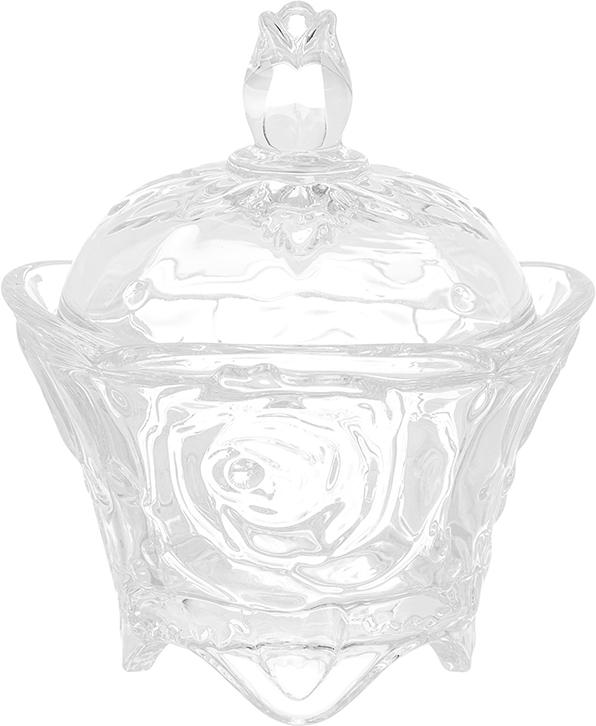 Компактная сахарница на ножках с рисунком из роз изготовлена из прозрачного стекла. Придаст легкость и воздушность сервировке стола и создаст особую атмосферу праздника.  Сахар, мед, изюм, орехи будут необыкновенно красиво смотреться в ней, и вы всегда можете увидеть, сколько продукта осталось в емкости.  Не важно, какая у вас посуда - в цветочек, белая, цветная, в горошек или полоску, посуда из стекла подойдет к любой.  Диаметр сахарницы (по верхнему краю): 9 см. Диаметр основания: 5,5 см.  Высота сахарницы (без учета крышки): 6,5 см.  Высота сахарницы (с учетом крышки): 11,5 см.  Объем сахарницы: 100 мл.