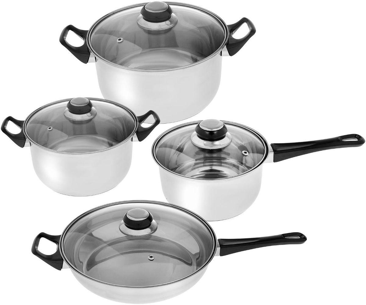 Набор посуды Доляна Черная ночь с крышками, 8 предметов1405217Набор посуды Доляна Черная ночь включает 2 кастрюли, ковш, сковороду и 4 крышки. Изделия выполнены из пищевой нержавеющей стали марки 201. Посуда из нержавеющей стали сохраняет тепло пищи продолжительное время, не влияет на вкус и цвет пищи, так как не вступает во взаимодействие с кислотами, содержащимися в ней.Нержавеющая сталь характеризуется самой гигиеничной поверхностью, которая не имеет пор и трещин, где могут скапливаться бактерии, и легко очищается от любых загрязнений. К тому же такая посуда имеет привлекательный вид и не требует специального ухода. Она не ржавеет и почти не стареет.Стенки толщиной 0,3 мм обеспечивают оптимальное распределение тепла по всей поверхности, что препятствует пригоранию еды в процессе готовки. Используйте минимум масла и жира, сохраняйте максимальное количество полезных веществ и натуральный вкус продуктов.Отдельно стоит отметить существенную экономию электроэнергии или газа: плиту можно выключить раньше, чем пища будет готова. Благодаря накопленному теплу ваше блюдо дойдет самостоятельно, без дополнительного нагревания.В комплекте имеются крышки из термостойкого стекла, которые ускоряют приготовление пищи. Удобные ручки с надежным креплением облегчают хват.Набор предметов из нержавеющей стали понадобится каждому повару. Прочные кастрюли, ковш и сковорода будут для вас помощниками долгие годы. Варите, тушите, жарьте и разогревайте пищу: с качественными инструментами кулинария станет вашим хобби.Изделия можно использовать на газовых, электрических, стеклокерамических и галогеновых плитах. Предметы просто отмываются, в том числе в посудомоечной машине.Объем ковша: 1,4 л.Объем кастрюль: 2 л, 2,9 л.Диаметр сковороды: 24 см.
