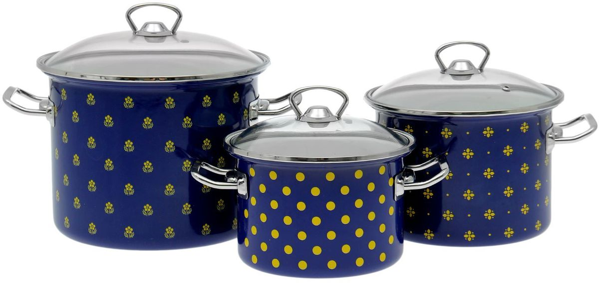 Набор кастрюль Epos Кобальтовая саксония, с крышками, цвет: синий, 6 предметов1721299Набор эмалированных кастрюль Epos Кобальтовая саксония пригодится вам для быстрого приготовления разных типов блюд. Такая посуда подходит для домашнего и профессионального использования.Достоинства: посуда быстро и равномерно нагревается; корпус стоек к ржавчине; изделие легко отмывается в посудомоечной машине.Благодаря приятным цветам кастрюля удачно впишется в любой дизайн интерьера. Наилучшее качество покрытия достигается за счёт того, что посуда проходит обжиг при температуре до 800 градусов.Чтобы предмет сохранял наилучшие эксплуатационные свойства, соблюдайте правила ухода: избегайте ударов и падений;не пользуйтесь высокоабразивными чистящими средствами; не допускайте резких перепадов температуры. Кастрюли подходят для долговременного хранения пищи.