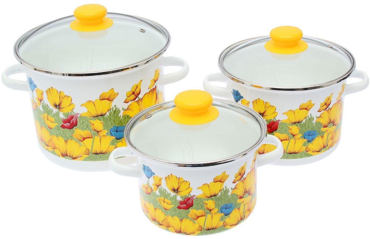 Набор кастрюль Epos Горицвет, с крышками, 6 предметов2293431Эмалированная посудая пригодится вам для быстрого приготовления разных типов блюд. Такая посуда подходит для домашнего и профессионального использования.Достоинства:посуда быстро и равномерно нагревается;корпус стоек к ржавчине;изделие легко отмывается в посудомоечной машине.Благодаря приятным цветам кастрюля удачно впишется в любой дизайн интерьера. Наилучшее качество покрытия достигается за счёт того, что посуда проходит обжиг при температуре до 800 градусов.Чтобы предмет сохранял наилучшие эксплуатационные свойства, соблюдайте правила ухода:избегайте ударов и падений;не пользуйтесь высокоабразивными чистящими средствами;не допускайте резких перепадов температуры.Посуда подходит для долговременного хранения пищи.