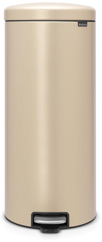 Бак мусорный Brabantia NewIcon, с педалью, цвет: золотой, с напылением, 30 л. 115967115967Коллекция Sense of Luxury. Превосходный дизайн - сверкающие минералы. Металлическая педаль подчеркивает индивидуальность стиля. Плавное закрывание и необыкновенно мягкий ход педали. Не пропускающая запах крышка. Надежный долговечный педальный механизм - комфортное использование в течение долгих лет. Противоскользящее основание - отличная устойчивость и защита пола. Легко перемещать - удобная ручка в блоке крепления крышки. Всегда опрятный вид - в комплекте идеально подходящие по размеру мешки для мусора PerfectFit (размер G). Сертификат соответствия концепции регенерации Cradle to Cradle.