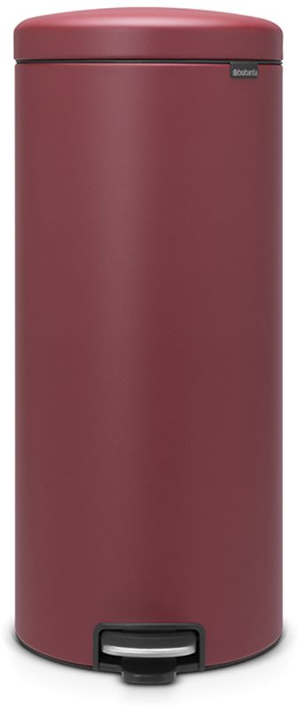 Бак мусорный Brabantia NewIcon, с педалью, цвет: бордо, с напылением, 30 л. 115981908101Коллекция Sense of Luxury.Превосходный дизайн - сверкающие минералы.Металлическая педаль подчеркивает индивидуальность стиля.Плавное закрывание и необыкновенно мягкий ход педали.Не пропускающая запах крышка.Надежный долговечный педальный механизм - комфортное использование в течение долгих лет.Противоскользящее основание - отличная устойчивость и защита пола.Легко перемещать - удобная ручка в блоке крепления крышки.Всегда опрятный вид - в комплекте идеально подходящие по размеру мешки для мусора PerfectFit (размер G).Сертификат соответствия концепции регенерации Cradle to Cradle.