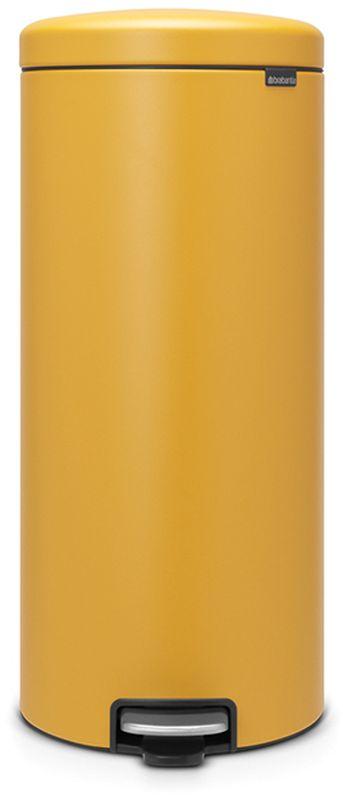 Бак мусорный Brabantia NewIcon, с педалью, цвет: горчично-желтый, с напылением, 30 л. 116148116148Коллекция Sense of Luxury. Превосходный дизайн - сверкающие минералы. Металлическая педаль подчеркивает индивидуальность стиля. Плавное закрывание и необыкновенно мягкий ход педали. Не пропускающая запах крышка. Надежный долговечный педальный механизм - комфортное использование в течение долгих лет. Противоскользящее основание - отличная устойчивость и защита пола. Легко перемещать - удобная ручка в блоке крепления крышки. Всегда опрятный вид - в комплекте идеально подходящие по размеру мешки для мусора PerfectFit (размер G). Сертификат соответствия концепции регенерации Cradle to Cradle.