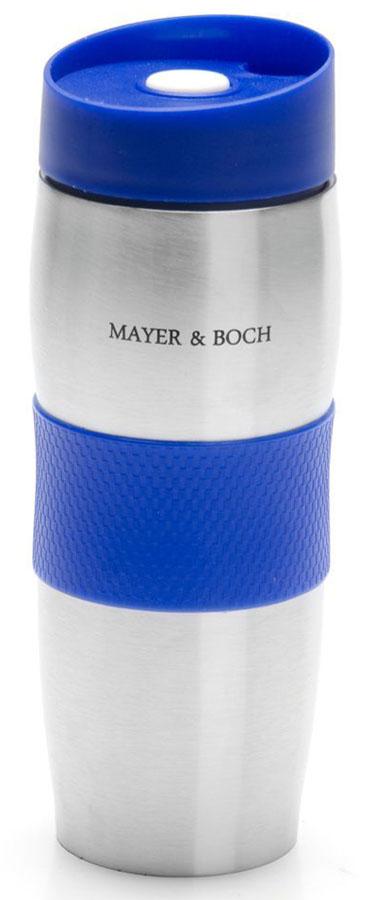 Термокружка Mayer&Boch, цвет: синий, 380 мл. 26631-126631-1Термокружка «MAYER & BOCH» изготовлена из нержавеющей стали, не содержащей токсичных веществ. Двойные стенки дольше сохраняют напиток горячим и не обжигают руки. Надежная крышка с защитой от проливания обеспечит дополнительную безопасность. Крышка оснащена клапаном для питья. Основание имеет силикованную вставку для предотвращения скольжения по поверхности. Оптимальный объем термокружки позволит взять с собой большую порцию горячего кофе или чая. Идеально подходит как для горячих, так и для холодных напитков. Такая кружка может быть использована во время отдыха, на работе, в путешествии, во время поездок в автомобиле.