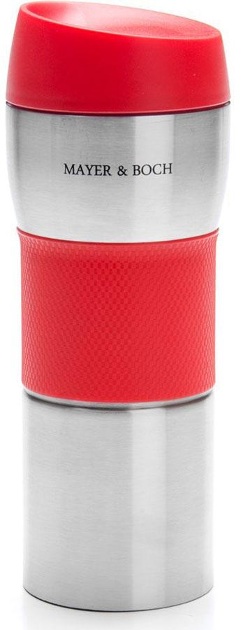 Термокружка Mayer&Boch, цвет: красный, 450 мл. 26632-126632-1Термокружка «MAYER & BOCH» изготовлена из нержавеющей стали, не содержащей токсичных веществ. Двойные стенки дольше сохраняют напиток горячим и не обжигают руки. Надежная крышка с защитой от проливания обеспечит дополнительную безопасность. Крышка оснащена клапаном для питья. Основание имеет силикованную вставку для предотвращения скольжения по поверхности. Оптимальный объем термокружки позволит взять с собой большую порцию горячего кофе или чая. Идеально подходит как для горячих, так и для холодных напитков. Такая кружка может быть использована во время отдыха, на работе, в путешествии, во время поездок в автомобиле.