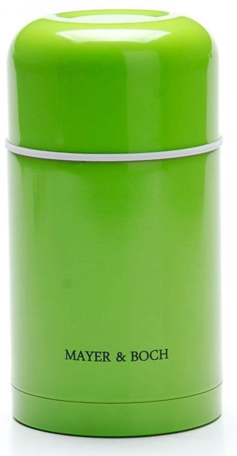 Термос Mayer&Boch, цвет: зеленый, 800 мл. 26635-126635-1Универсальный термос выполнен из качественной нержавеющей стали (CrNi 18/10), которая не вступает в реакцию с содержимым термоса и не изменяет вкусовых качеств напитка. Двойная стенка из нержавеющей стали сохраняет температуру на более длительный срок. Вакуумный закручивающийся клапан предохраняет от проливаний. Крышку можно использовать как чашку. Уникальные свойства данного термоса получили высокую оценку потребителей. Данная модель термоса прочная, долговечная и небьющаяся. Прочный и надежный термос станет незаменимым помощником для рыболовов, охотников, а так же его оценят путешественники и туристы. Легко и просто моется.