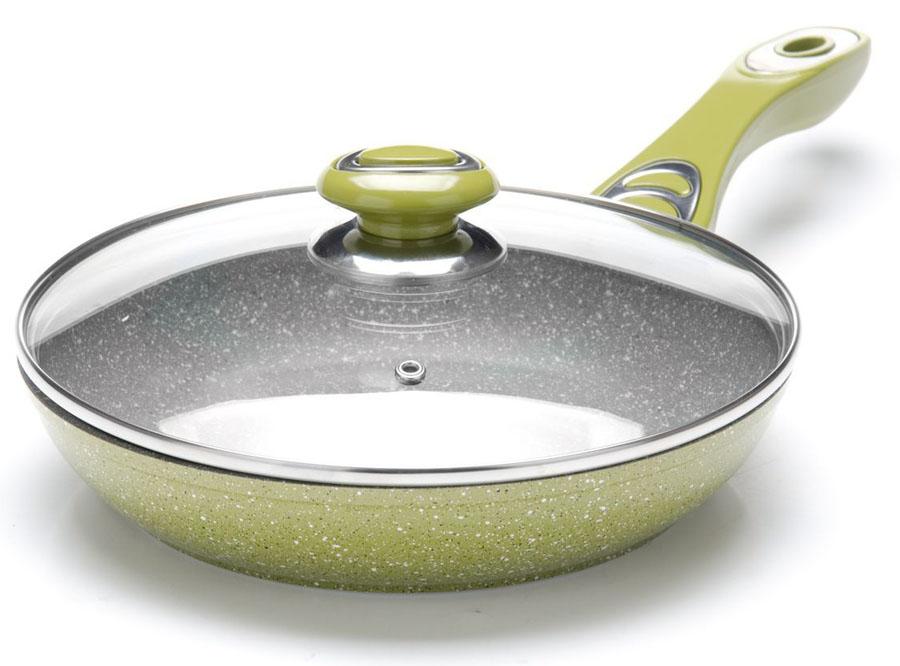 Сковорода Mayer&Boch, с крышкой. Диаметр 26 см. 2690326903Сковорода с мраморной крошкой MAYER&BOCH выполнена из качественного литого алюминия и снабжена антипригарным покрытием особой прочности. Покрытие антипригарное жаропрочное, защищает сковороду от царапин, является экологически чистым и полностью безопасным, без вредных соединений и примесей. За счет того, что пища не пригорает и не пристает к покрытию сковороды, ее легко и быстро мыть. Прочное индукционное дно сковороды устойчиво к повреждениям и деформации. Эргономичная ручка из бакелита не нагревается и не скользит. Такая сковорода является незаменимой для жарки и тушения различных блюд. Крышка – термостойкое стекло. Подходит для использования на всех типах плит. Подходит для мытья в посудомоечной машине.