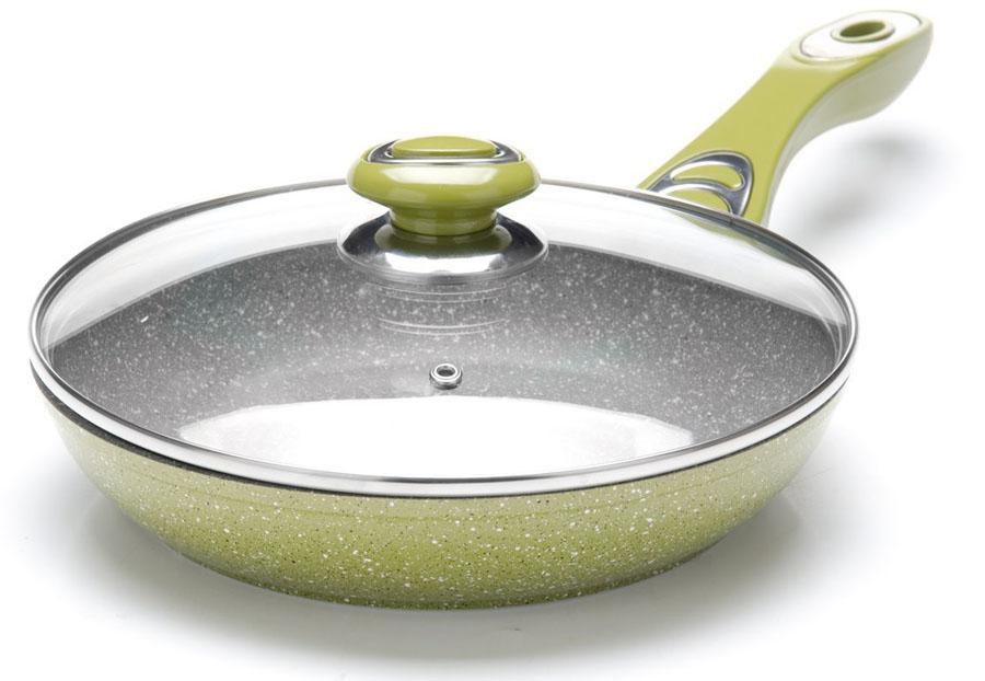 Сковорода Mayer&Boch с крышкой, с мраморным покрытием, цвет: зеленый, серый. Диаметр 28 см26906Сковорода Mayer&Boch выполнена из качественного литого алюминия и снабжена антипригарным покрытием особой прочности. Покрытие антипригарное жаропрочное, защищает сковороду от царапин, является экологически чистым и полностью безопасным, без вредных соединений и примесей. За счет того, что пища не пригорает и не пристает к покрытию сковороды, ее легко и быстро мыть. Прочное индукционное дно сковороды устойчиво к повреждениям и деформации. Эргономичная ручка из бакелита не нагревается и не скользит. Такая сковорода является незаменимой для жарки и тушения различных блюд. Крышка - термостойкое стекло. Подходит для использования на всех типах плит. Подходит для мытья в посудомоечной машине.Диаметр сковороды по верхнему краю: 28 см.Высота стенки: 6 см.