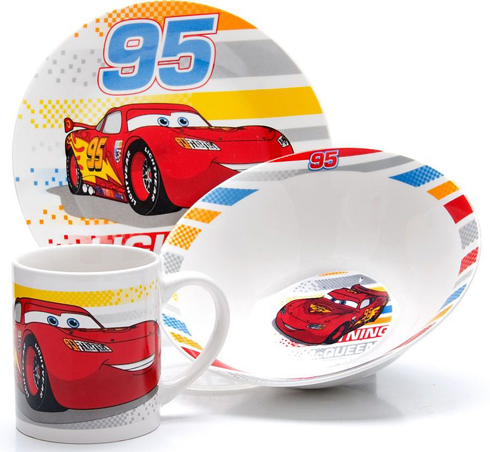 Набор для завтрака Disney Тачки, 3 предмета. 2699826998Набор детской посуды DISNEY, выполненный из высококачественной керамики и декорированы красочным рисунком. Такой набор обязательно понравится вашему ребенку, потому что теперь у него будет своя собственная посуда с изображением героев популярных мультиков. Набор посуды для детей включает в себя три предмета: суповую тарелку, обеденную тарелку и кружку. Набор упакован в красочную, подарочную упаковку. Подходит для мытья в посудомоечной машине.