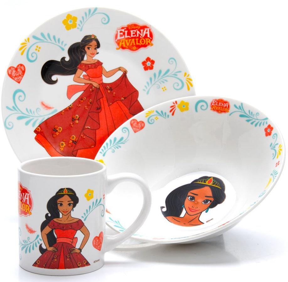 Набор для завтрака Disney Елена, 3 предмета. 2699926999Набор детской посуды DISNEY, выполненный из высококачественной керамики и декорированы красочным рисунком. Такой набор обязательно понравится вашему ребенку, потому что теперь у него будет своя собственная посуда с изображением героев популярных мультиков. Набор посуды для детей включает в себя три предмета: суповую тарелку, обеденную тарелку и кружку. Набор упакован в красочную, подарочную упаковку. Подходит для мытья в посудомоечной машине.