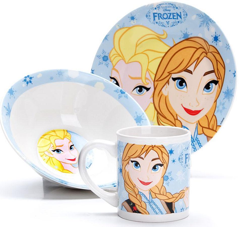 Набор для завтрака Disney Снежная королева, 3 предмета. 2700027000Набор детской посуды DISNEY, выполненный из высококачественной керамики и декорированы красочным рисунком. Такой набор обязательно понравится вашему ребенку, потому что теперь у него будет своя собственная посуда с изображением героев популярных мультиков. Набор посуды для детей включает в себя три предмета: суповую тарелку, обеденную тарелку и кружку. Набор упакован в красочную, подарочную упаковку. Подходит для мытья в посудомоечной машине.