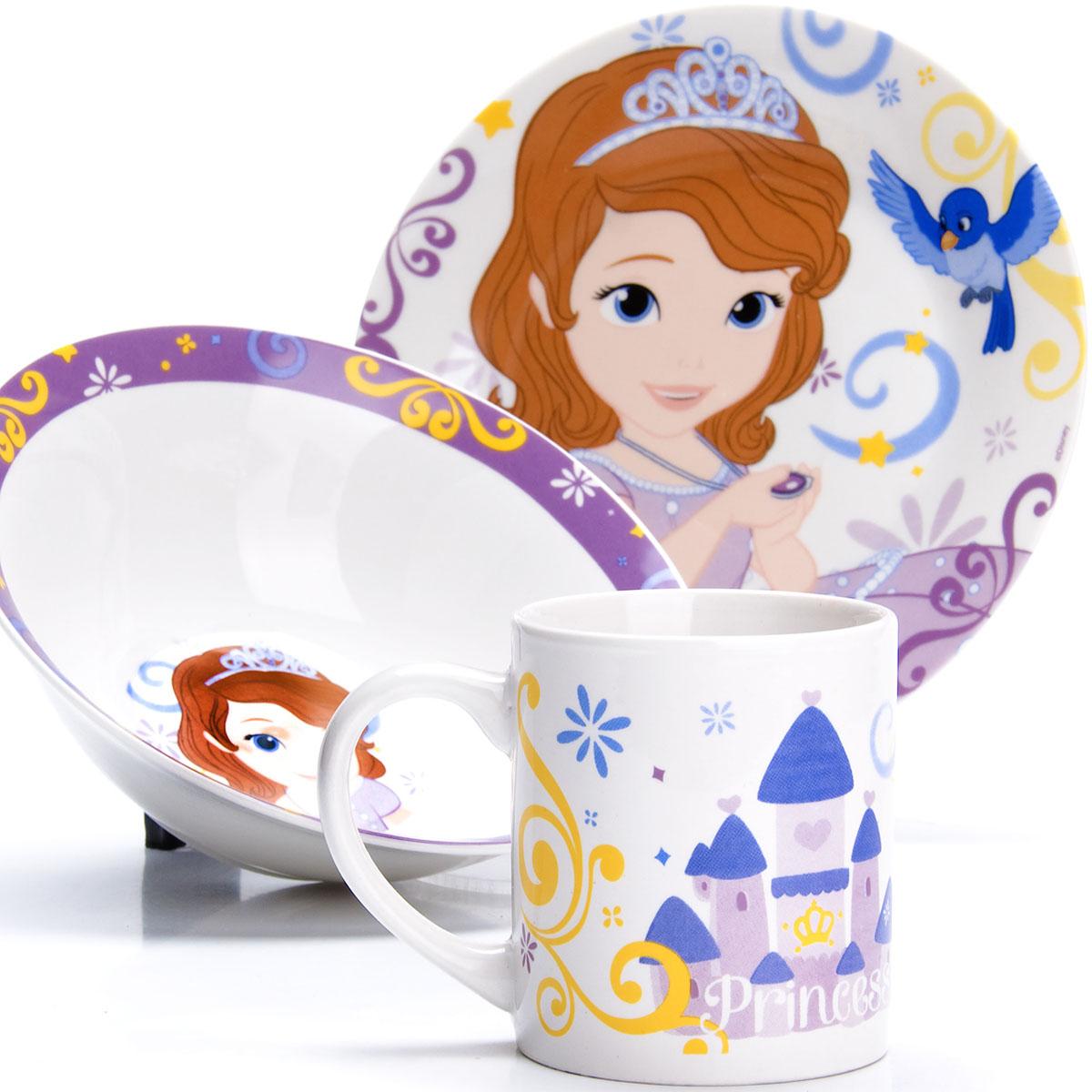 Набор для завтрака Disney София, 3 предмета. 2700227002Набор детской посуды DISNEY, выполненный из высококачественной керамики и декорированы красочным рисунком. Такой набор обязательно понравится вашему ребенку, потому что теперь у него будет своя собственная посуда с изображением героев популярных мультиков. Набор посуды для детей включает в себя три предмета: суповую тарелку, обеденную тарелку и кружку. Набор упакован в красочную, подарочную упаковку. Подходит для мытья в посудомоечной машине.
