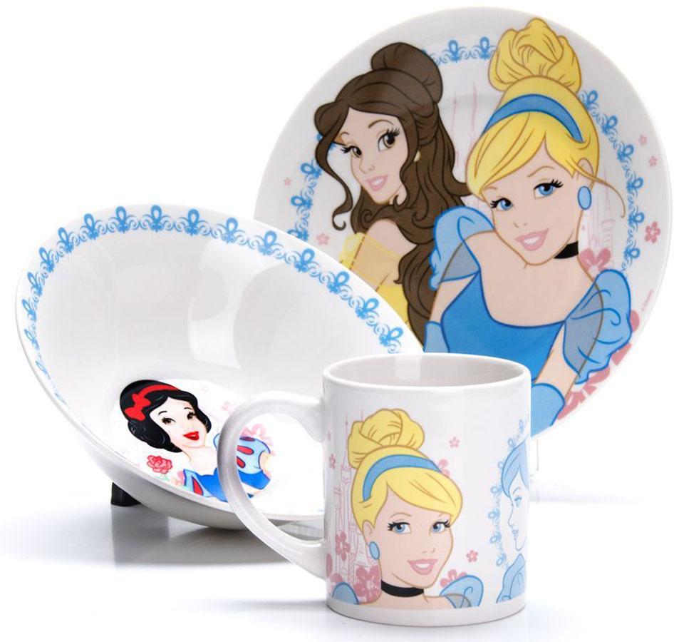 Набор для завтрака Disney Золушка, 3 предмета. 2700327003Набор детской посуды DISNEY, выполненный из высококачественной керамики и декорированы красочным рисунком. Такой набор обязательно понравится вашему ребенку, потому что теперь у него будет своя собственная посуда с изображением героев популярных мультиков. Набор посуды для детей включает в себя три предмета: суповую тарелку, обеденную тарелку и кружку. Набор упакован в красочную, подарочную упаковку. Подходит для мытья в посудомоечной машине.