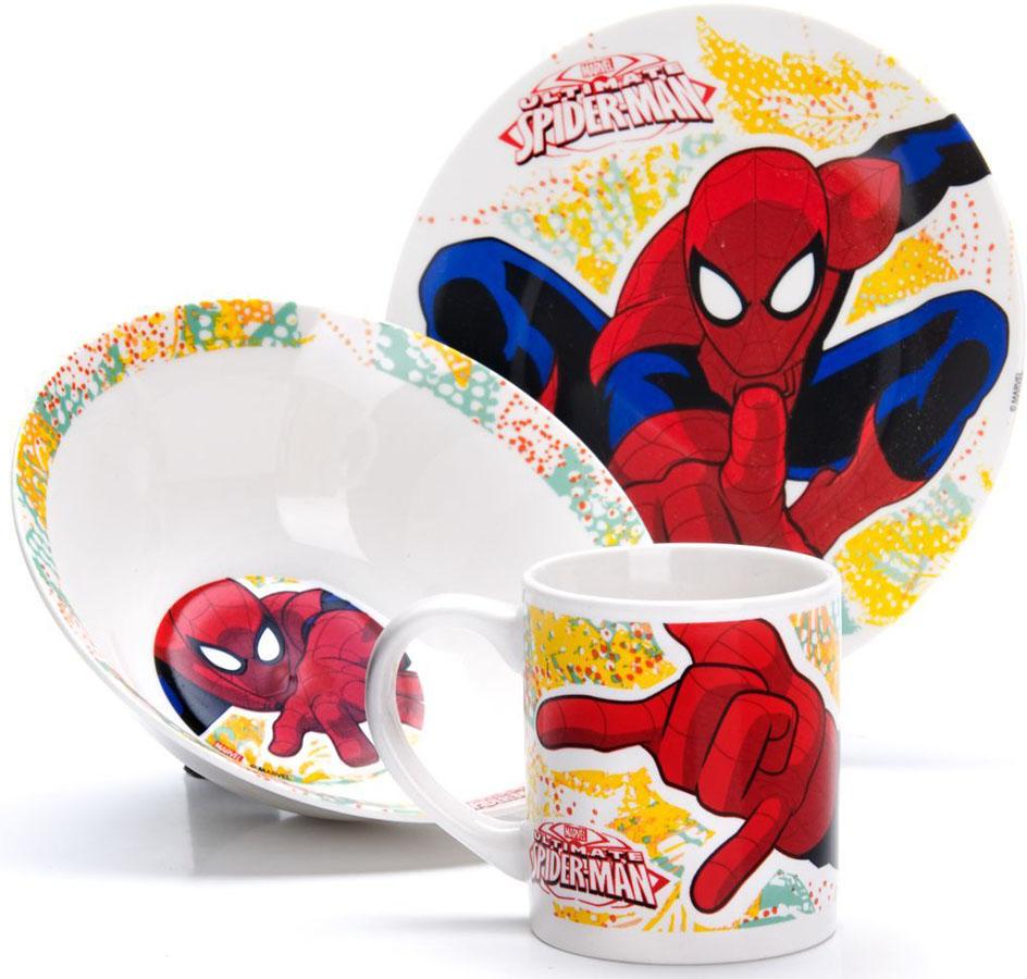 Набор для завтрака Disney Человек паук, 3 предмета. 2700427004Набор детской посуды DISNEY, выполненный из высококачественной керамики и декорированы красочным рисунком. Такой набор обязательно понравится вашему ребенку, потому что теперь у него будет своя собственная посуда с изображением героев популярных мультиков. Набор посуды для детей включает в себя три предмета: суповую тарелку, обеденную тарелку и кружку. Набор упакован в красочную, подарочную упаковку. Подходит для мытья в посудомоечной машине.