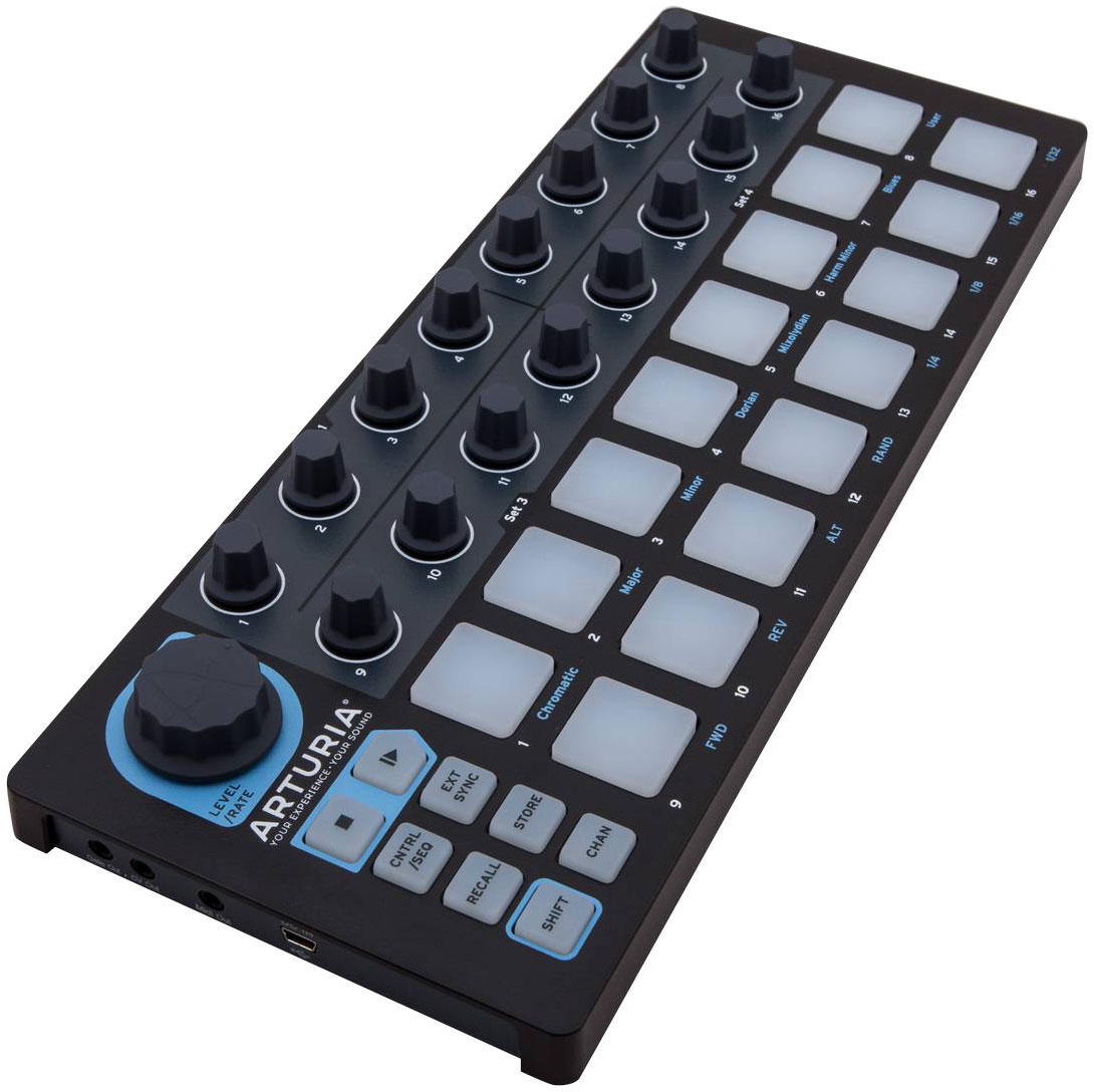 Arturia BeatStep Black Edition, Black MIDI-клавиатураMCI54023USB MIDI контроллер, позволяет запускать клипы в Ableton Live, а также проигрывать ударные в BFD и EZDrummer. 16-шаговый аналоговый секвенсор16 пэдов16 энкодеровCV выходыUSB In/OutMIDI Outсовместимость с iPadкомплект CV/Gate кабелей