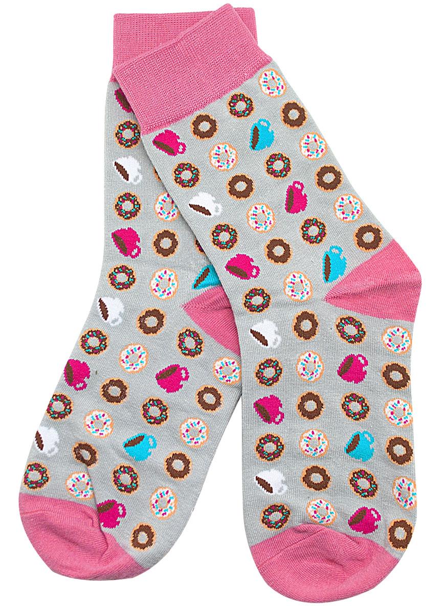 Носки женские Kawaii Factory Пончики с чашками, цвет: серый, розовый. 2000000220079. Размер 35/402000000220079Носки Kawaii Factory изготовлены из качественного материала на основе хлопка. Модель имеет мягкую эластичную резинку. Носки хорошо держат форму и обладают повышенной воздухопроницаемостью.