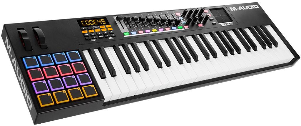 M-Audio Code 49, Black MIDI-клавиатураMCI54833USB MIDI контроллер49 клавишполувзвешенная механика с послекасанием8 назначаемых регуляторов радиального типа16 пэдов (velocity-sensitive)XY пэд9 фейдеровMackie/HUI транспортLCD дисплейКомплект Ableton Live Lite, Hybrid 3.0, Loom