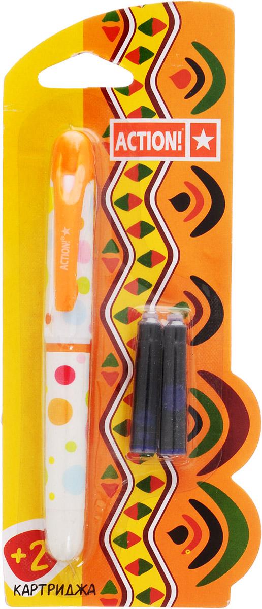 Action! Ручка перьевая с двумя картриджами цвет корпуса оранжевыйAFP1001_оранжевыйПерьевая ручка Action! заинтересует ребенка, мечтающего о взрослых предметах письма, а также поможет выработать навыки каллиграфии и исправить хромающий почерк.Перьевая ручка Action! с запасными картриджами отличается от взрослых ручек широким пластиковым корпусом, эргономичной зоной гриппа. В комплекте три чернильных картриджа - один в ручке и два запасных в блистерном отсеке.