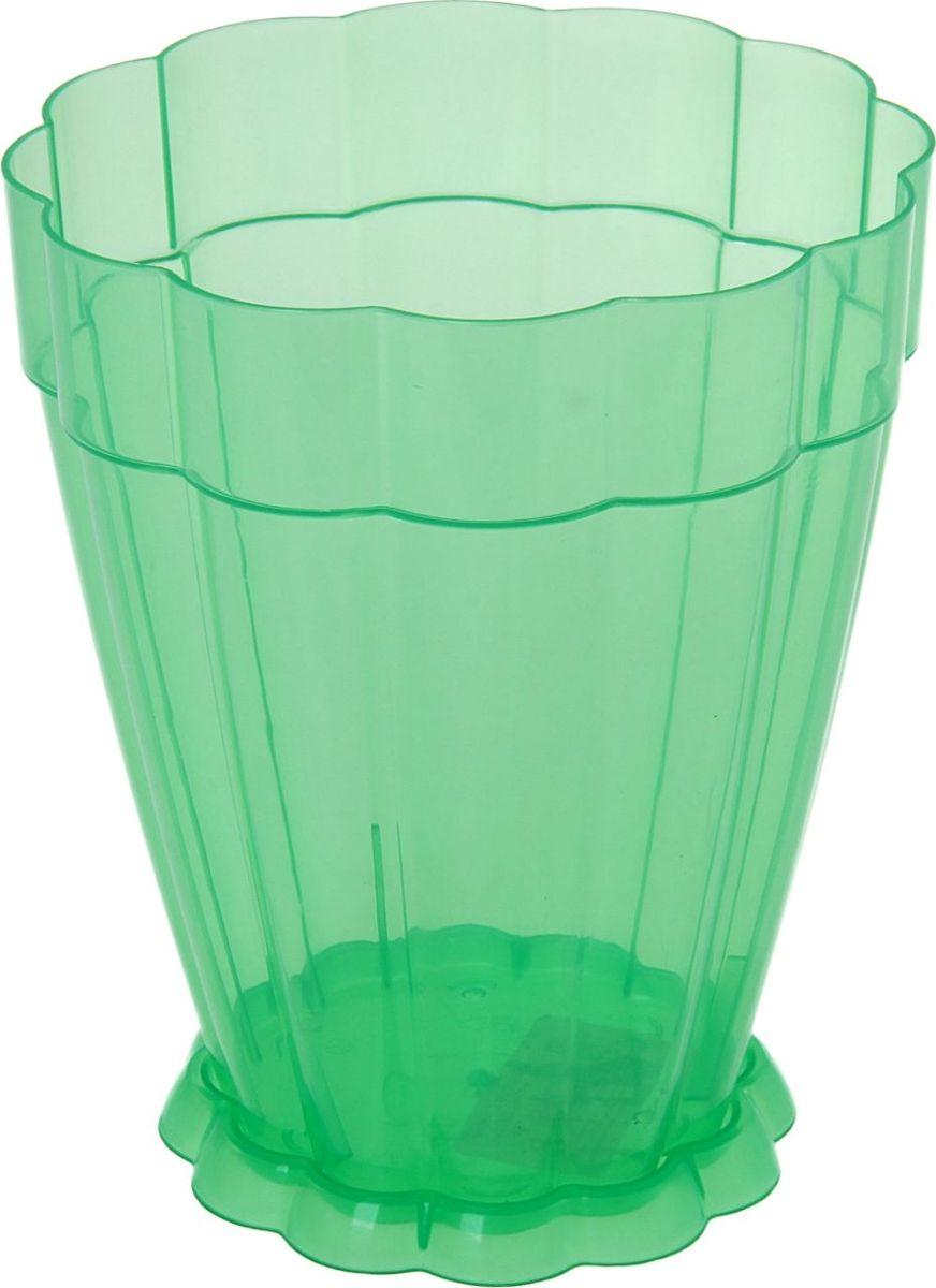 Горшок для цветов Альтернатива Фантастика, с поддоном, цвет: зеленый, 1,5 л1005139