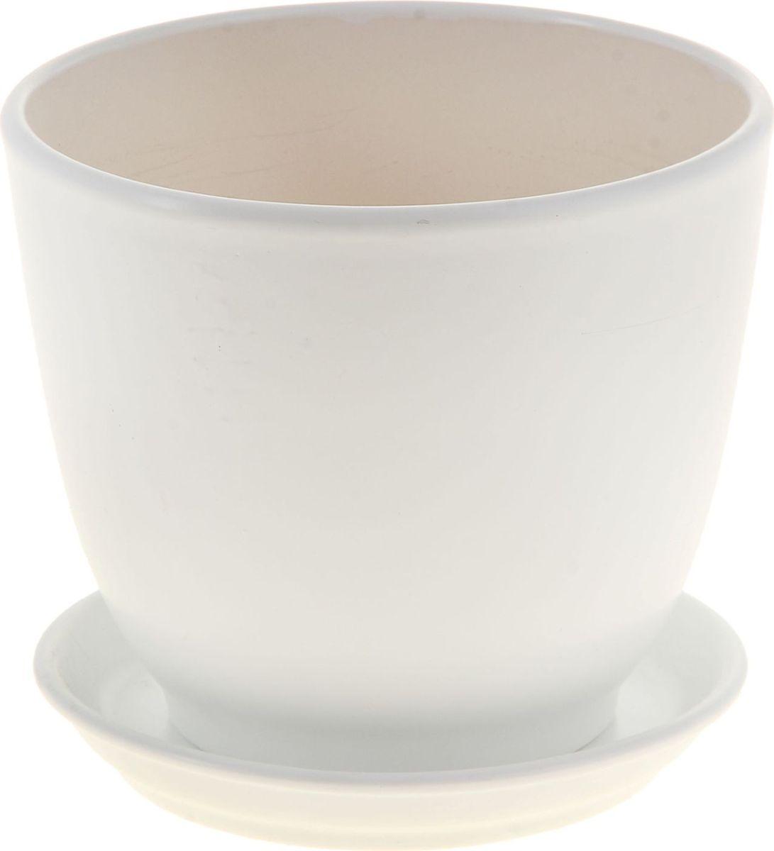 Кашпо Керамика ручной работы Кедр. Глянец, цвет: белый, 2,2 л
