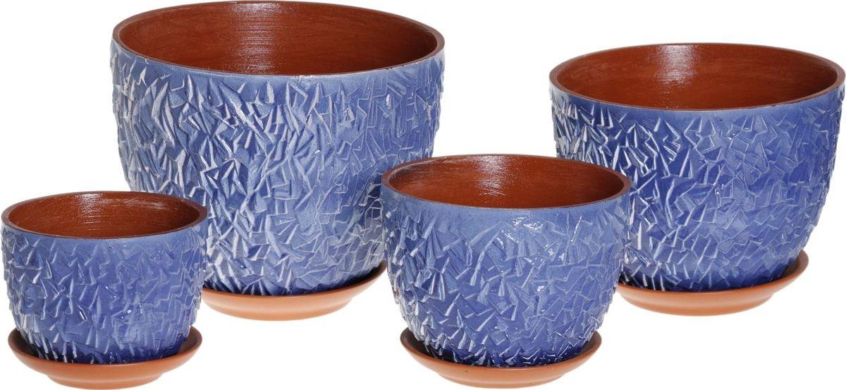 Набор кашпо Льдинка, цвет: голубой, 4 предмета1039800Комнатные растения — всеобщие любимцы. Они радуют глаз, насыщают помещение кислородом и украшают пространство. Каждому из них необходим свой удобный и красивый дом. Кашпо из керамики прекрасно подходят для высадки растений: за счёт пластичности глины и разных способов обработки существует великое множество форм и дизайновпористый материал позволяет испаряться лишней влагевоздух, необходимый для дыхания корней, проникает сквозь керамические стенки! #name# позаботится о зелёном питомце, освежит интерьер и подчеркнёт его стиль.