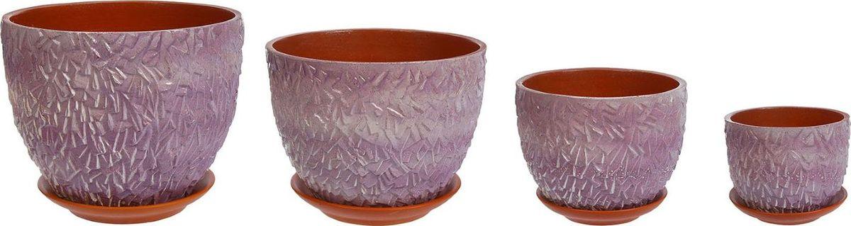 Набор кашпо Льдинка, цвет: фиолетовый, 4 предмета1039801Комнатные растения — всеобщие любимцы. Они радуют глаз, насыщают помещение кислородом и украшают пространство. Каждому из них необходим свой удобный и красивый дом. Кашпо из керамики прекрасно подходят для высадки растений: за счёт пластичности глины и разных способов обработки существует великое множество форм и дизайновпористый материал позволяет испаряться лишней влагевоздух, необходимый для дыхания корней, проникает сквозь керамические стенки! #name# позаботится о зелёном питомце, освежит интерьер и подчеркнёт его стиль.
