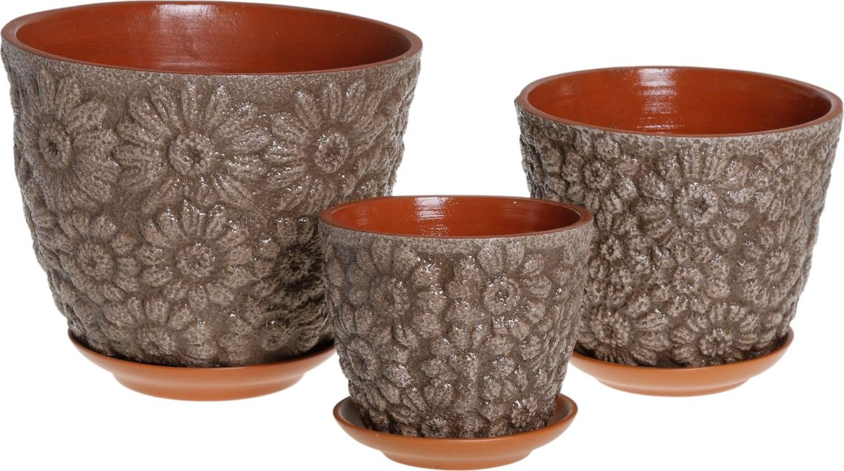 Набор кашпо Гербера, цвет: оливковый, 3 предмета1039805Комнатные растения — всеобщие любимцы. Они радуют глаз, насыщают помещение кислородом и украшают пространство. Каждому из них необходим свой удобный и красивый дом. Кашпо из керамики прекрасно подходят для высадки растений: за счет пластичности глины и разных способов обработки существует великое множество форм и дизайнов пористый материал позволяет испаряться лишней влаге воздух, необходимый для дыхания корней, проникает сквозь керамические стенки! позаботится о зеленом питомце, освежит интерьер и подчеркнет его стиль.