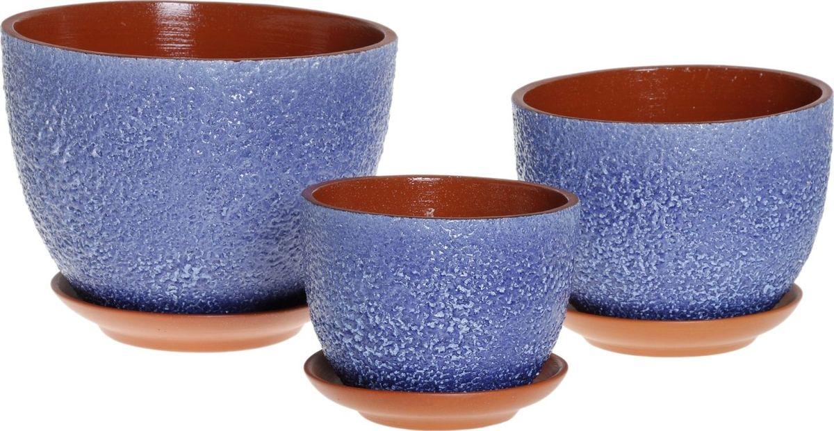 Набор кашпо Прима, цвет: лазурный, 3 предмета1039811
