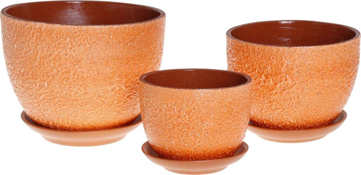 Набор кашпо Прима, цвет: оранжевый, 3 предмета1039812Комнатные растения — всеобщие любимцы. Они радуют глаз, насыщают помещение кислородом и украшают пространство. Каждому из них необходим свой удобный и красивый дом. Кашпо из керамики прекрасно подходят для высадки растений: за счет пластичности глины и разных способов обработки существует великое множество форм и дизайнов пористый материал позволяет испаряться лишней влаге воздух, необходимый для дыхания корней, проникает сквозь керамические стенки! позаботится о зеленом питомце, освежит интерьер и подчеркнет его стиль.