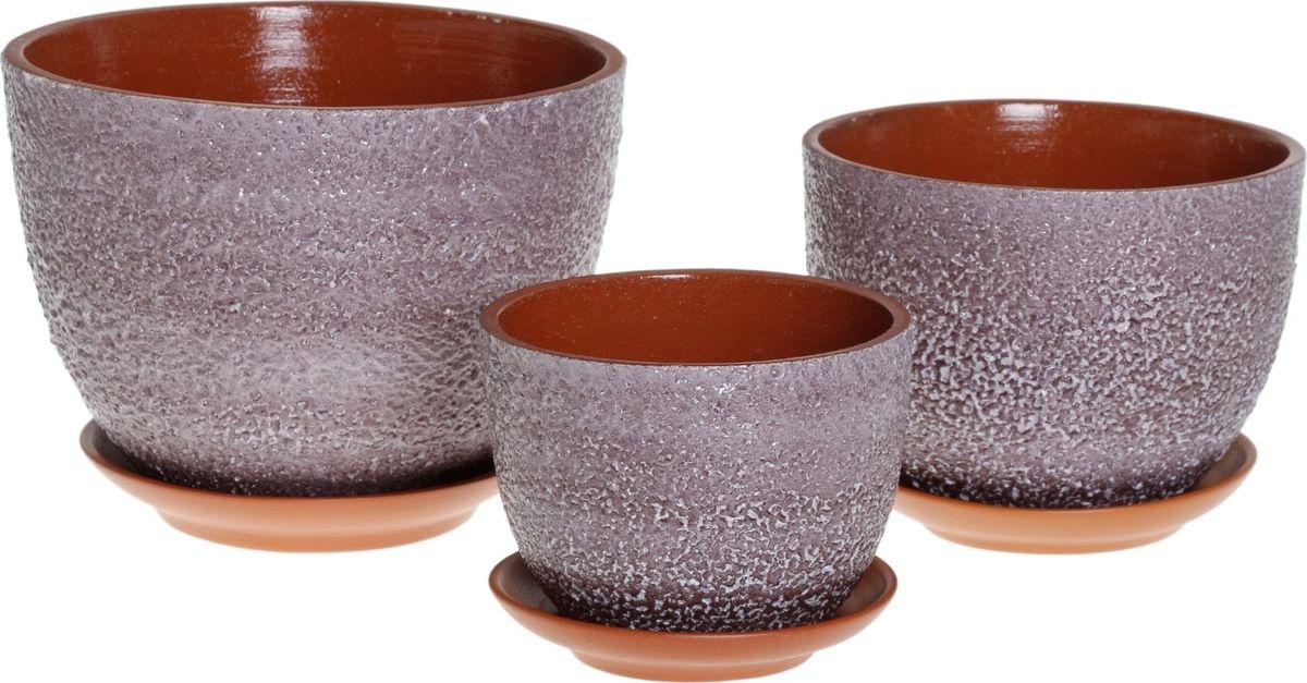Набор кашпо Прима, цвет: чернослив, 3 предмета1039814Комнатные растения — всеобщие любимцы. Они радуют глаз, насыщают помещение кислородом и украшают пространство. Каждому из них необходим свой удобный и красивый дом. Кашпо из керамики прекрасно подходят для высадки растений: за счёт пластичности глины и разных способов обработки существует великое множество форм и дизайновпористый материал позволяет испаряться лишней влагевоздух, необходимый для дыхания корней, проникает сквозь керамические стенки! #name# позаботится о зелёном питомце, освежит интерьер и подчеркнёт его стиль.