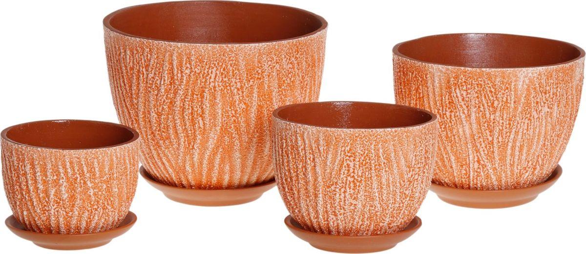 Набор кашпо Кора, цвет: оранжевый, 4 предмета1039826Комнатные растения — всеобщие любимцы. Они радуют глаз, насыщают помещение кислородом и украшают пространство. Каждому из них необходим свой удобный и красивый дом. Кашпо из керамики прекрасно подходят для высадки растений: за счёт пластичности глины и разных способов обработки существует великое множество форм и дизайновпористый материал позволяет испаряться лишней влагевоздух, необходимый для дыхания корней, проникает сквозь керамические стенки! #name# позаботится о зелёном питомце, освежит интерьер и подчеркнёт его стиль.