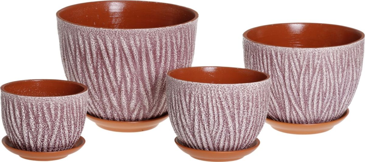 Набор кашпо Кора, цвет: фиолетовый, 4 предмета1039827Комнатные растения — всеобщие любимцы. Они радуют глаз, насыщают помещение кислородом и украшают пространство. Каждому из них необходим свой удобный и красивый дом. Кашпо из керамики прекрасно подходят для высадки растений: за счёт пластичности глины и разных способов обработки существует великое множество форм и дизайновпористый материал позволяет испаряться лишней влагевоздух, необходимый для дыхания корней, проникает сквозь керамические стенки! #name# позаботится о зелёном питомце, освежит интерьер и подчеркнёт его стиль.